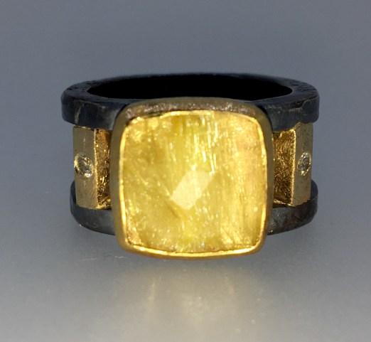 Gold rutilated quartz ring, 22k gold, silver, 14k gold and diamonds