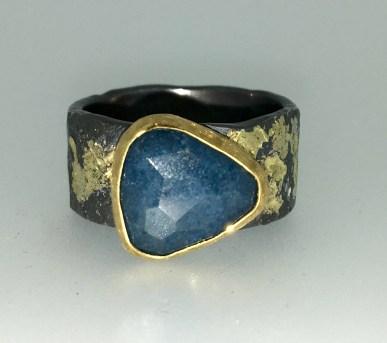 Lazulite ring, 22k gold, silver, 14k gold