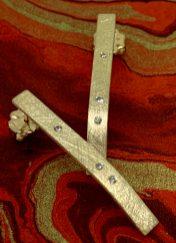 Starfall earrings, 14k gold, diamonds, (post earrings).