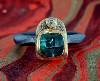 Afgan tourmaline and diamond ring, 14k gold and oxidized sterling silver
