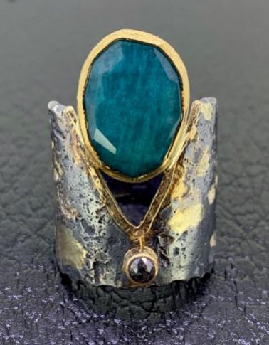 Oxidized sterling, 14k & 22k gold, silver/black rose cut diamond