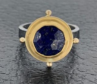 Lapis Lazuli, 22k & 18k gold, oxidized sterling