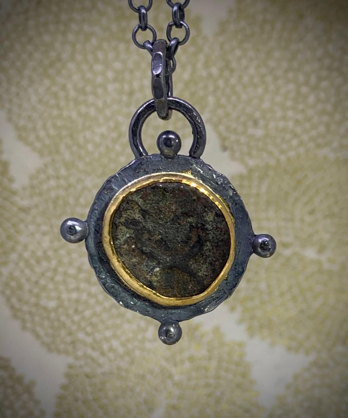 Ancient Nabetean coin (circa Judea era), sterling silver.