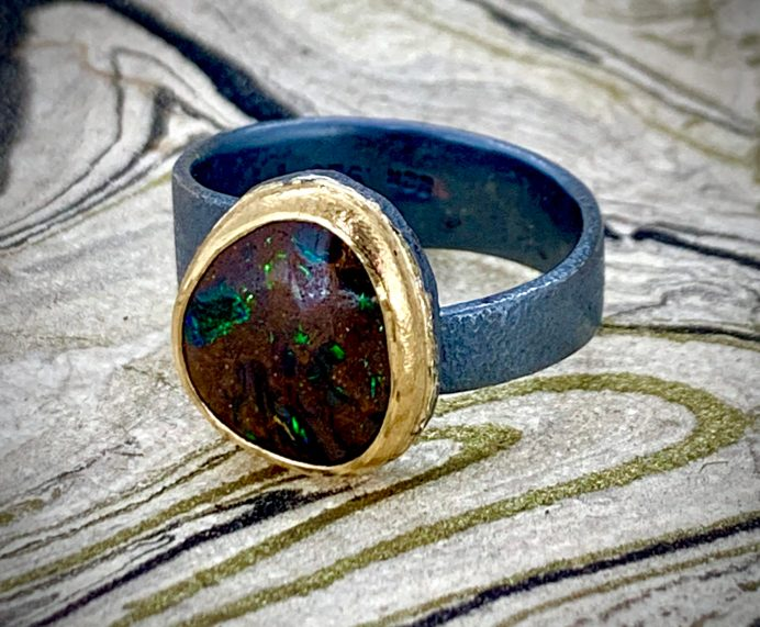 Yowah opal in 22k gold setting, oxidized sterling band
