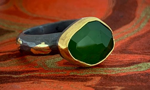 Nephrite (Jade) in 22k gold with oxidized sterling and 14k gold