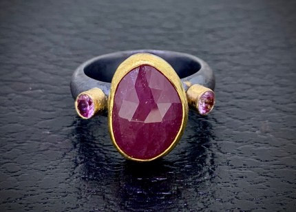 rose cut pink sapphire and full cut pink sapphires in 22k & 14k gold with oxidized sterling band