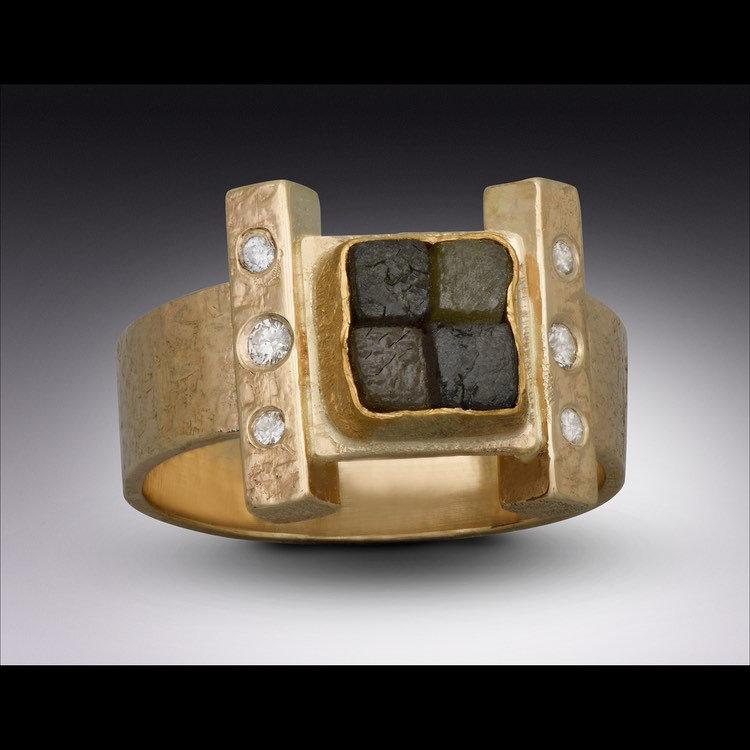Rough Diamond Foursquare Ring
