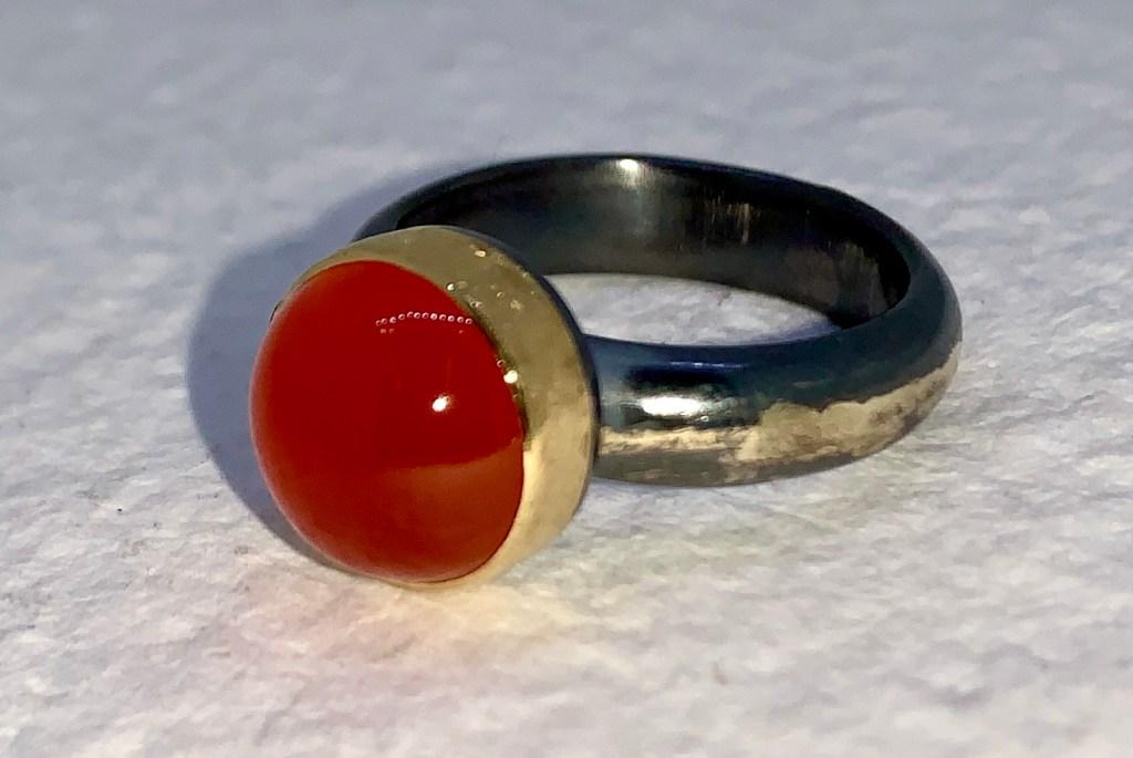 Orange Chalcedony Ring