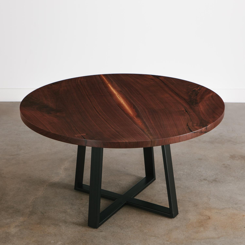 modern round walnut wood slab