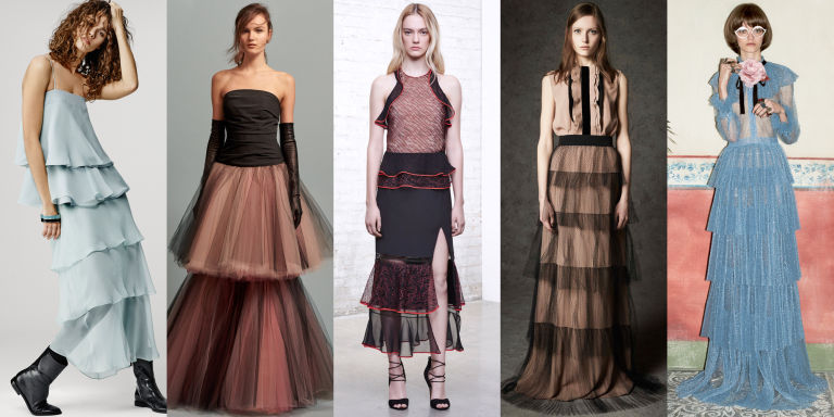 The multi-layered skirt is about to become a mainstay in our closets. Gucci's ongoing style of decadent kitsch is pioneering the look in pastel and pleats, giving this trend lush texture.  Left to Right: Giorgio Armani, Oscar de la Renta, Jonathan Simkhai, No. 21, Gucci