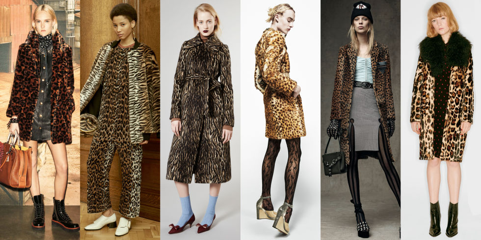 Leopard is never truly out, per se, but it came roaring back this season. The print made notable appearances at Alexander Wang, Coach, and Sonia Rykiel.Left to Right: Coach, Stella McCartney, Rochas, Alexander Wang, Sonia Rykiel