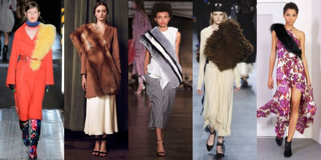 Designers have always had a love affair with luxe fur stoles, but the asymmetrical draping styling trick makes it different than ever before. As seen at MSGM, Katie Ermilio, Monse, Tome, and Diane von Furstenberg