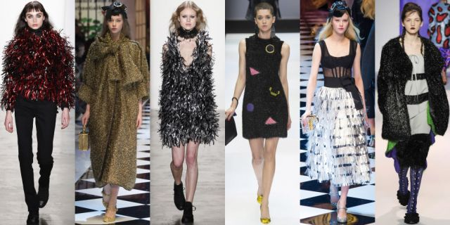 Shine on, ladies! With these sparkly coats, dresses, and skirts it should be more than easy to do. As seen at Adam Selman, Dolce & Gabbana, Fendi, and Marco de Vincenzo