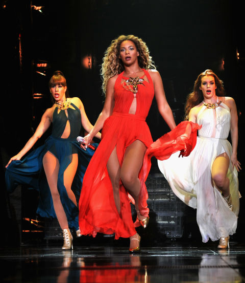 Versace designed the looks for Beyoncé's Mrs. Carter world tour, including this chiffon slit gown, which was one of the most memorable wardrobe moments.