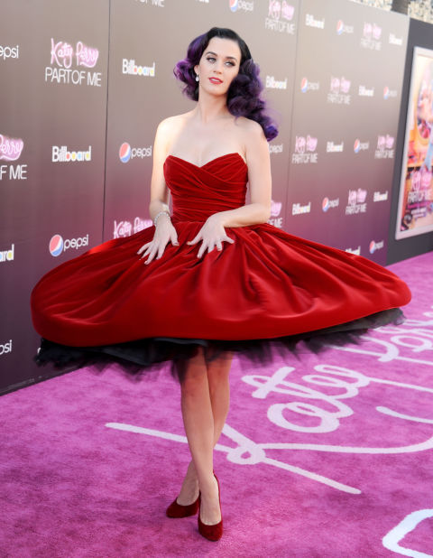 Katy Perry could've worn anything she wanted for the premiere of her documentary Part of Me, but she chose this velvet Dolce & Gabbana  dress, pairing it with purple hair for a truly striking look.