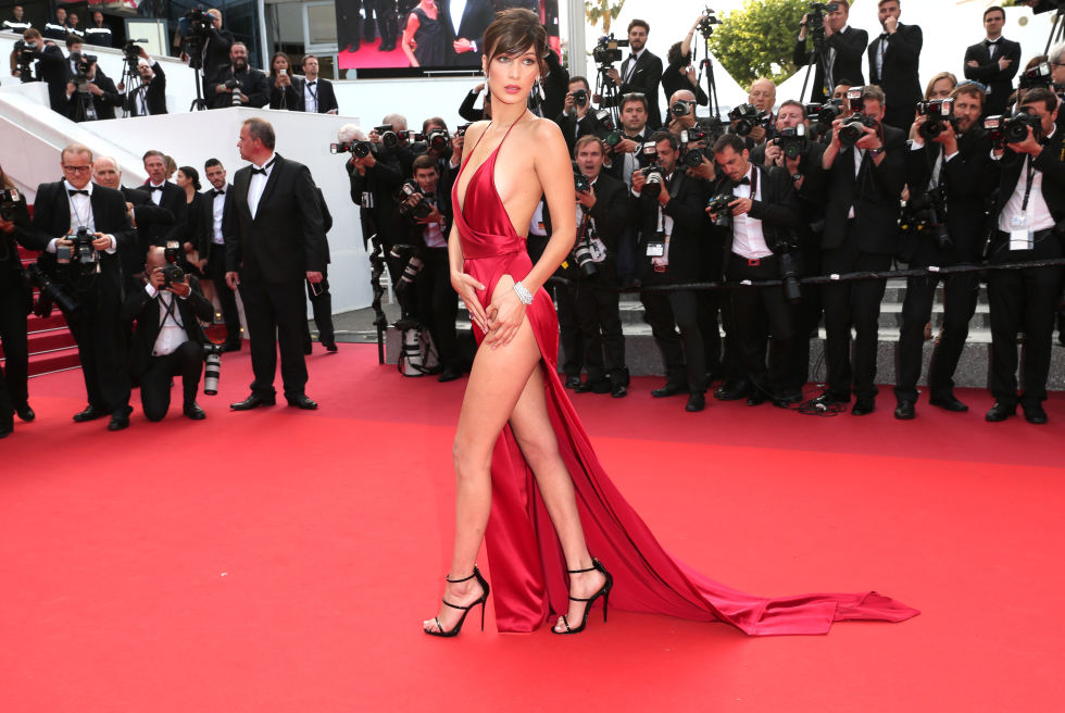 Bella Hadid Sexy High Slit Plunging V-neck Halter Red Prom Dress Cannes 2016