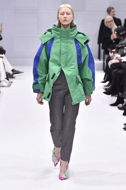 The waxed ski jacket made its way from the slopes to the runway thanks to the purveyor of cool, Balenciaga's Demna Gvasalia. Whip out your own North Face or Roxy coats and style them with slacks and heels for the office.