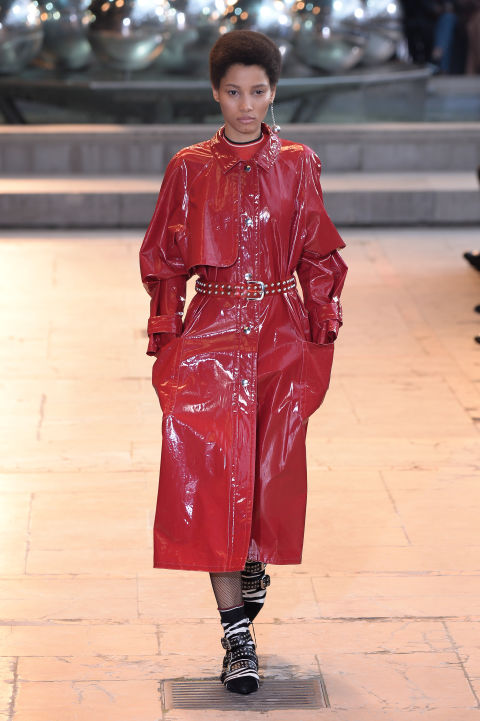 For unseasonably warm winter days (too cold for a jacket, too hot for a wool coat), take a note from Isabel Marant. A patent trench will offer you more warmth than its lightweight counterpart, without causing you to overheat.
