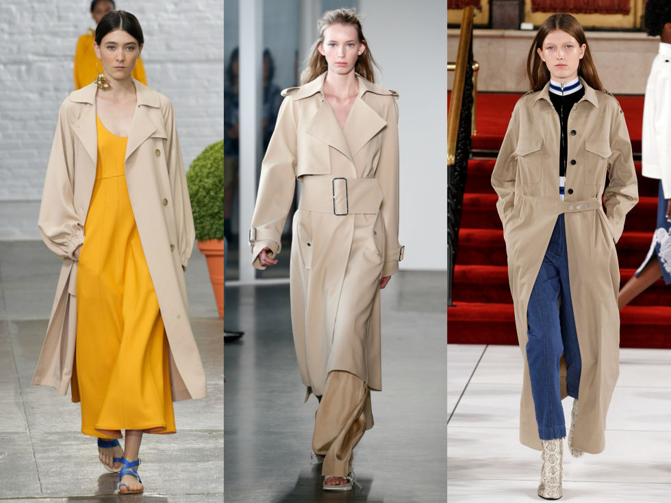 Slouchy fabrics, big buckles, and extended silhouettes take your run of the mill trench coat from meh to major. Left to Right: Tibi, Dion Lee, Creatures of the Wind