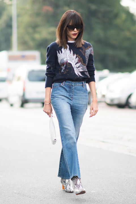 Mom jeans aren't budging. Boxy, straight-leg styles had a heavy presence outside the shows.