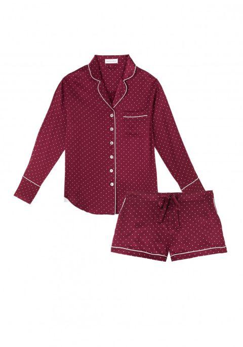 Olivia Von Halle Alba Clemence Silk Nightshirt Set, $375; oliviavonhalle.com