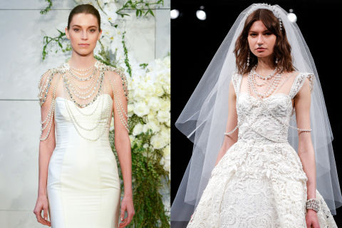 You only get married once (hopefully), so why limit yourself to boring single drop earrings? Monique Lhuillier showed bridal body jewelry while Naeem Khan went even further with a wedding day septum ring. Left to right: Monique Lhuillier, Naeem Khan