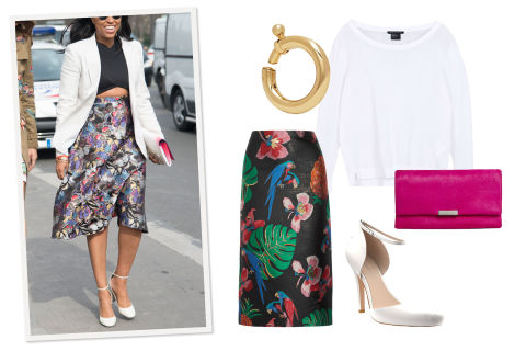 Transition into warmer weather with a delicate sweater that'll ward off an evening chill. To keep the look from veering into country club territory, balance it out with leather pumps, an embroidered boho skirt, and notice-me accessories.Armani Exchange Pullover, $110, armaniexchange.com; Valentino Floral-Jacquard Midi Skirt, $1980, netaporter.com; Loeffler Randall Clutch, $350, bloomingdales.com; Shoes of Prey Heels, $240, nordstrom.com; Balenciaga Gold-Tone Ear Cuff, $225, netaporter.com