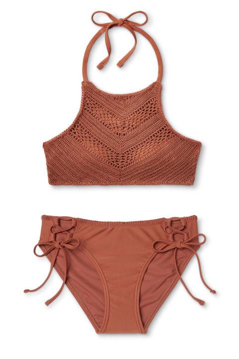 Xhilaration Crochet High Neck Bikini Top, $23; target.comXhilarationKeyhole String Bikini Bottom, $18; target.com