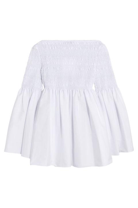 The Row Burton Smocked Cotton-Blend Poplin Top, $2,090; net-a-porter.com