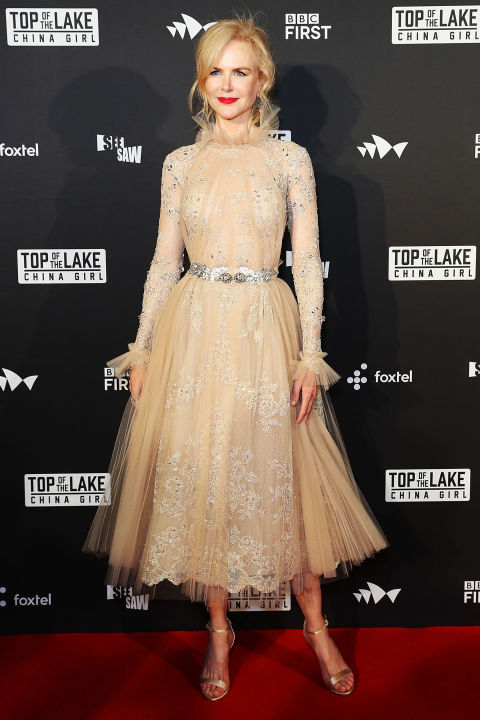 Who: Nicole Kidman When: August 1, 2017 Wearing: Zuhair Murad Why: Nicole Kidman arrived at the Top of the Lake premiere in Sydney, Australia looking like a porcelain doll that sits in your chic grandma's untouchable living room. Her complexion-flattering nude ensemble—complete with a barely-there tulle collar—wins the actress best dressed of the week.