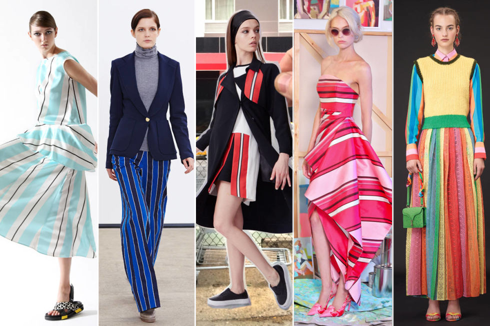 Designers have decided that vertical, vibrant stripes are the way to go. From Derek Lam's understated blue to Antonio Marras' silhouette in motion, the stripe is undergoing a nice change in orientation.<br /><br />