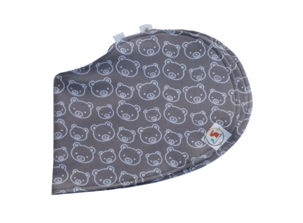 Bib and Burp Cloth - Gray with Chubby Bears