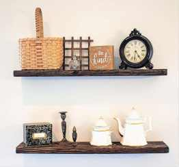 new arrivals 4ceb9 0fab8 Rustic Wood Floating Shelves. Set of 2. Includes Hidden Brackets. Dark  Walnut. 7.25 inches Wide, 24 inches Long.