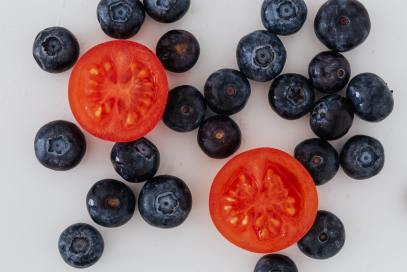 blueberries and tomatoes