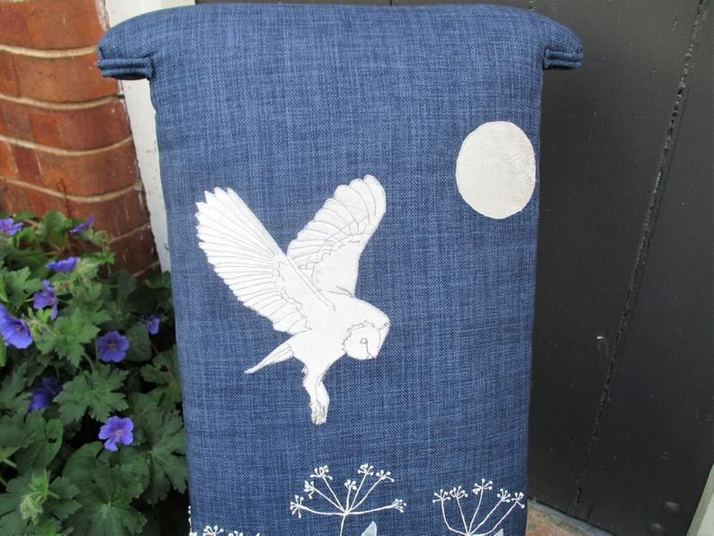 Chairs for Sale: Antique Prie-Dieu Upholstered Chair with Stunning Embroidered Barn Owl Scene.