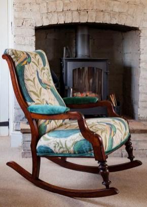 Victorian Rocking Chair Stunning Peacock Designer Fabric