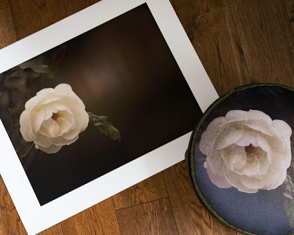 white rose footstool