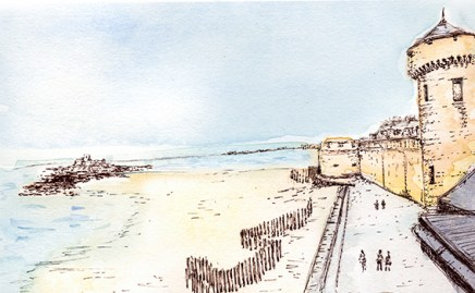St Malo, illustration (c) Ella Johnston, Brittany Ferries, Guardian Labs 2017