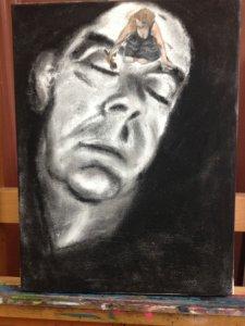 Houtskool portret van Koos