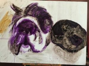 Paparazzi stilleven. Stilleven olie eitempera schilderij van Paparazzi met bal. Onze hond is geschilderd in de olie eitempera techniek en is 120x80cm groot.