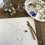 Het wassen van een goudvis, tekening opzet
