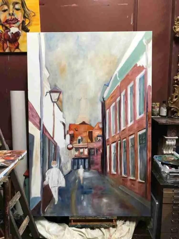 Schilderen aan de Korte Begijnestraat 120 x 180 cm. Foto1