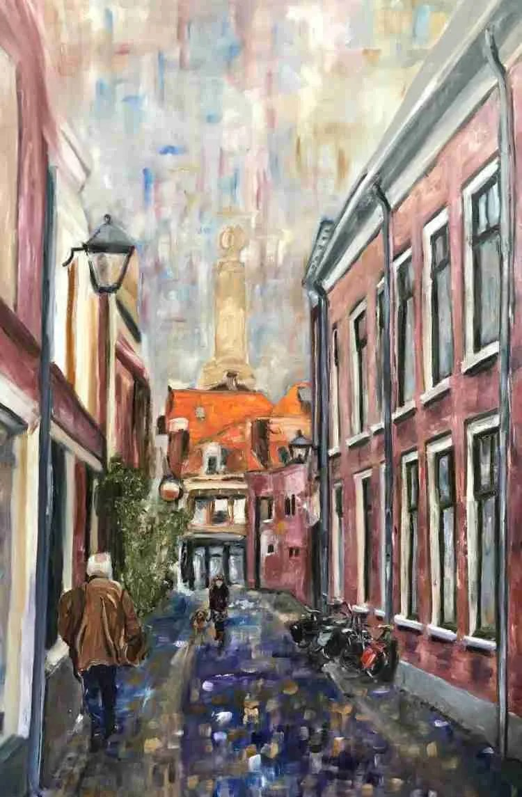 Schilderen aan de Korte Begijnestraat. Foto3