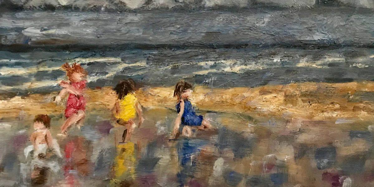 Wonderlijk Strand met vier spelende kinderen, olieverf schilderij - Ella Looise NL-41