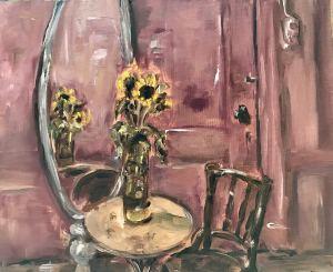 Stilleven interieur met zonnebloemen in zelfgemaakte vaas