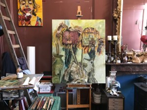 Aan het werk met 'Het Droste effect met de Haarlemse zonnebloemen', olieverf schilderij