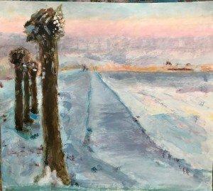 Winterse landschappen op schilderles