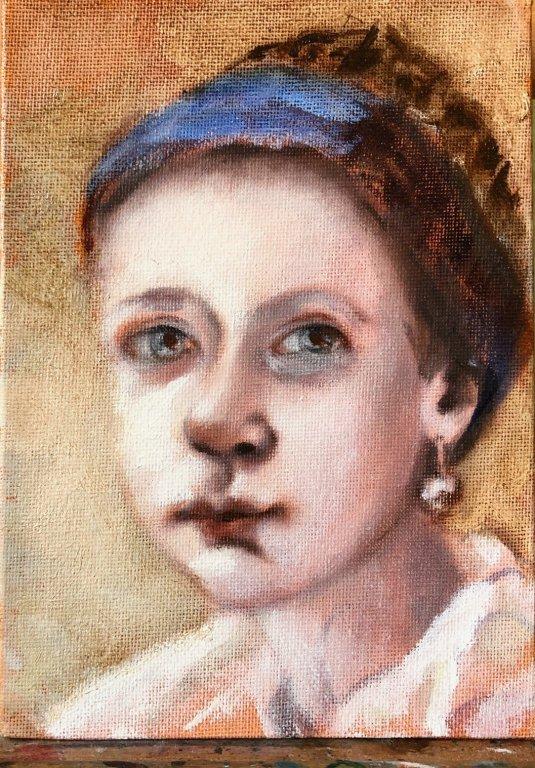 Glaceerlagen deel 1, #9 Portret van het Meisje met Rauwe Omber en glaceermedium schilder ik de achtergrond