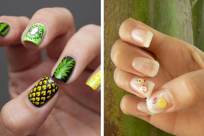 uñas de gel decoradas con frutas