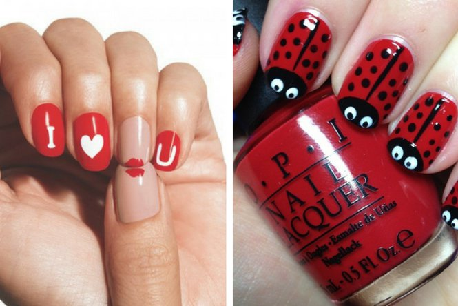 uñas rojas decoradas divertidas
